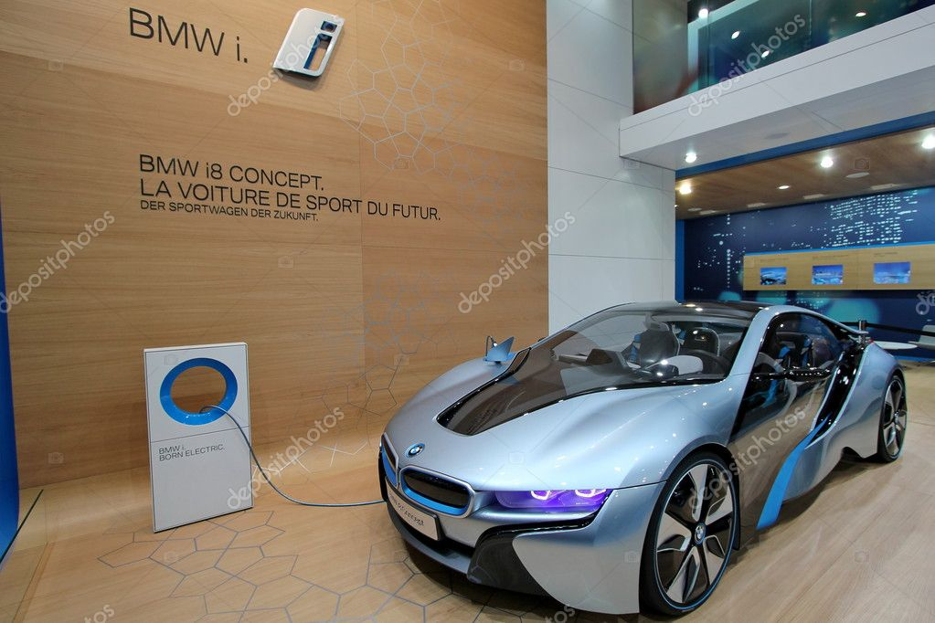 GENEVA - MARCH 16 : Blue BMW i8 concept on display at the 82st International Motor Show Palexpo -Geneva on March 16; 2012 in Geneva, Switzerland.   Stock Photo #9576168