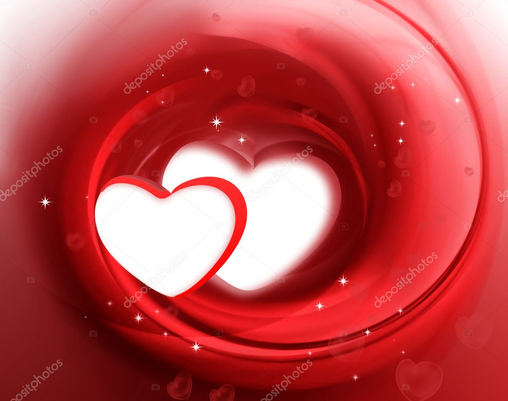 Two hearts on the abstract romantic background — Stockfoto #9333478
