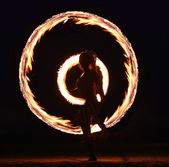 Fire Dance on the Beach at Night — Stock Photo