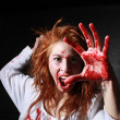 Horror Themed Image With Bleeding Freightened Woman - Stock Photo