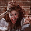 Horror Themed Image With Bleeding Freightened Woman — Stock Photo #9790465