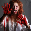 Horror Themed Image With Bleeding Freightened Woman — Stock Photo #9790467