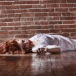 Horror Themed Image With Bleeding Freightened Woman — Stock Photo #9791622