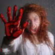 Horror Themed Image With Bleeding Freightened Woman — Stock Photo #9791631