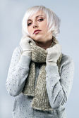Beautiful lady in warm clothes — Stock Photo