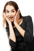 Surprised woman in strict business clothing — Stock Photo