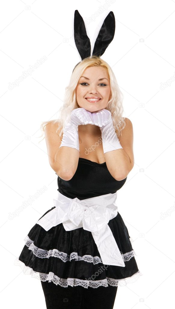Lovely woman in rabbit costume, white background — Stock Photo #8343481
