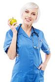 Enfermera amable sobre fondo blanco — Foto de Stock
