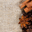 Coffee and spice on a rough cloth - Stock Photo