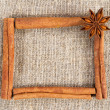 Cinnamon sticks frame on a sacking cloth - Stock Photo