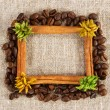 Cinnamon and coffee frame on a sacking cloth - Stock Photo