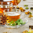 Tea cup with fresh mint leaves — Stock Photo #8634349