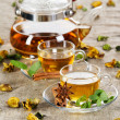 Tea cup with fresh mint leaves — Stockfoto