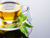 Tea cup with fresh mint leaves — Foto de Stock