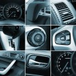 Collage of car interior details - Stock Photo