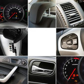 Collage of car interior details — Stock Photo