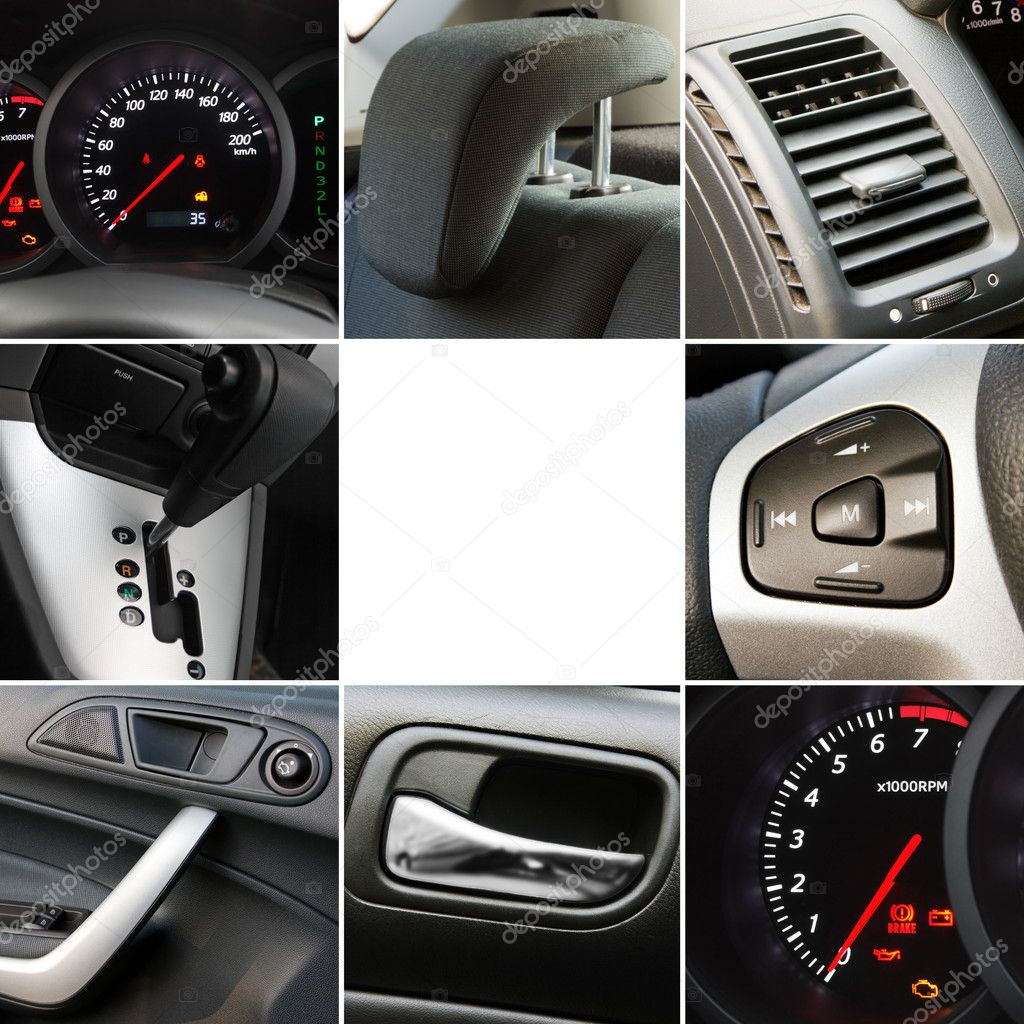 Collage of car interior details closeups — Stock Photo #8881654