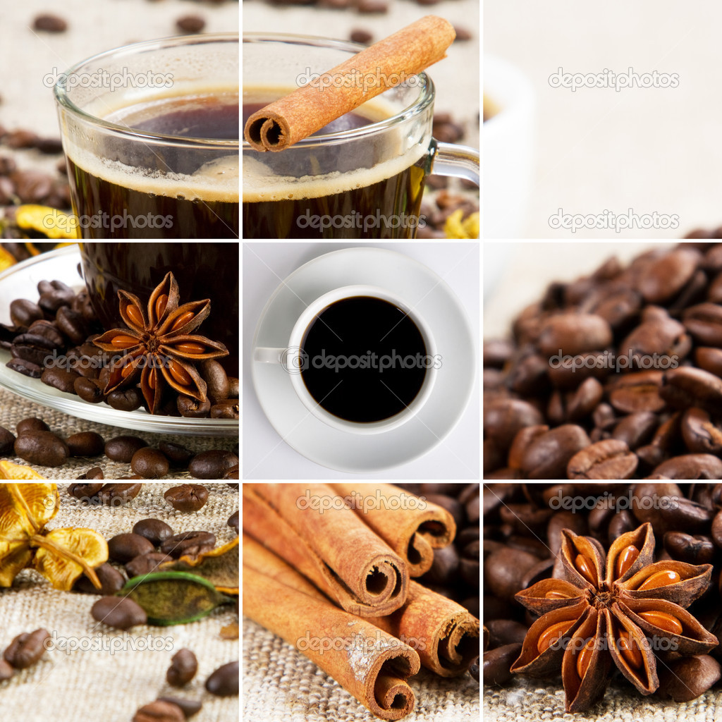 Coffee collage of cups, beans and other details — Stock Photo #8881683