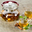 Tea cup with fresh mint leaves — Stock Photo #8901879
