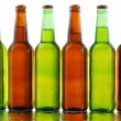 Beer bottles isolated on white background - Stock Photo