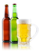 Beer mug and bottle isolated on white background — Stock Photo