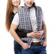 Young couple isolated on white background — Stock Photo