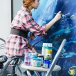 Painter at work, painting a home interior — Stock Photo #9652715