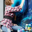 Painter at work, painting a home interior — Stock Photo #9652717