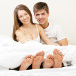 Beautiful couple in bed — Stock Photo #9652727