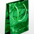 Green gift bag with rope handles — Foto Stock