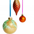Christmas balls on ribbon — Stock Photo