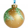 Christmas ball hanging on ribbon — Stock Photo