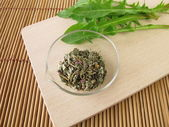 Dandelion root and leaves, Taraxaci radix cum herba — Stock Photo