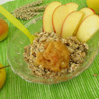 Fresh grain muesli with apple — Stock Photo