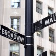 Broadway and Wall Street Signs — Stock Photo