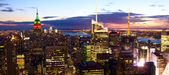 Manhattan skyline aerial panorama — Stock Photo
