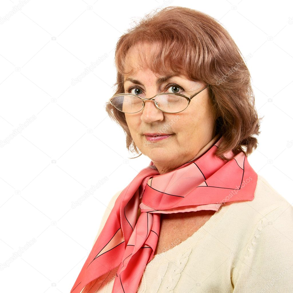 Portrait of senior woman with glasses isolated on white — Stock Photo #9794857