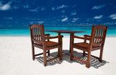 Plážová restaurace na maledivském ostrově — Stock fotografie