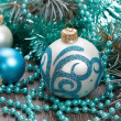 Royalty-Free Stock Photo: Christmas blue balls and beads decorations