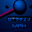 Stock Photo: Blue Speedometer Tachometer Night Shot