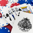 Red White and Blue Poker Chips and Royal Flush — Stock Photo