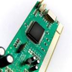 Green Circuit Board PCI on White — Stock Photo