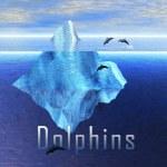 Eisberg im Ozean mit Hülsen der Delphine — Stockfoto