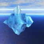 Floating Iceberg in the Open Ocean with Horizo — Stock Photo