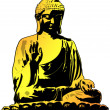Golden Buddha Sitting Illustration - Stock Photo
