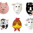Various Cartoon Farm Animal Face Illustrations — Stock Photo