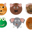 Various Animal Face Cartoon Illustrations — Stock Photo #9903291
