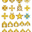 Military Badges Medals and Rank Chevrons — Stock Photo