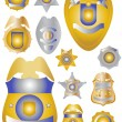 Twelve Gold Brass and Tin Police Badges Shields - Stock Photo