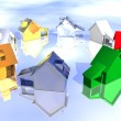 Stock Photo: ring of various types of 3d houses